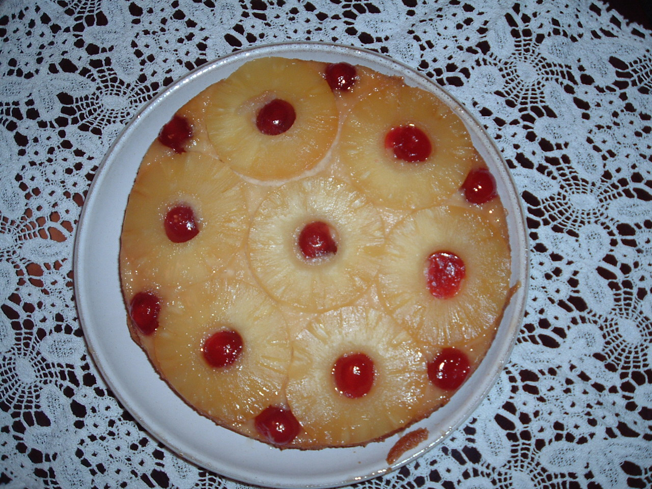 Pineapple upside-down pudding.
